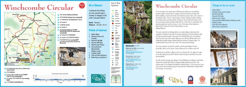 Circular cycle route from Winchcombe in the Cotswolds, on quiet lanes, through Cotswold villages and countryside