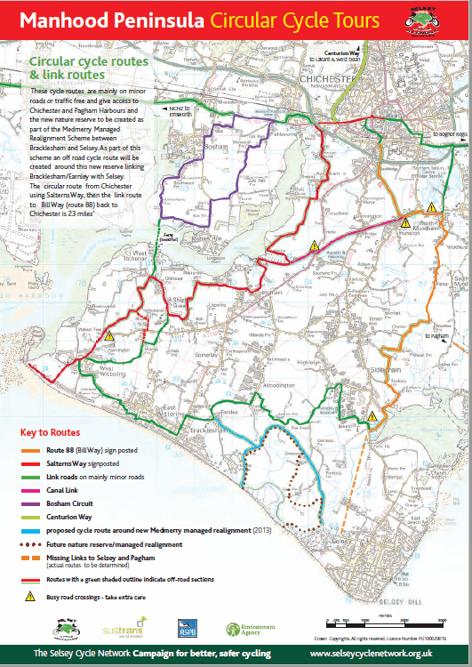 link to pdf map of circular cycle routes south of Chichester