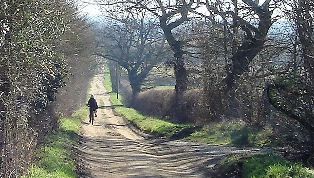 Cycling on Calais Lane near Witney, Oxfordshire