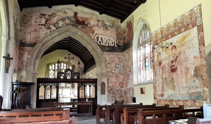 The medieval wall paintings in the village church at south Leigh, Oxfordshire